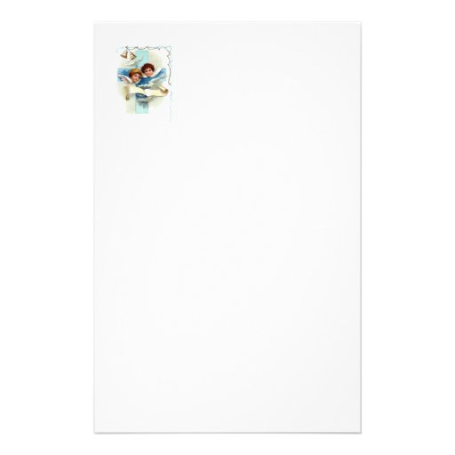 Angels With Cross Scroll And Bells Customized Stationery