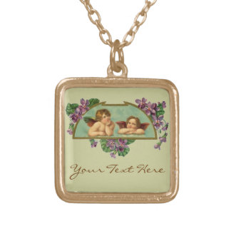 Angels With Purple Flowers Gold Plated Necklace