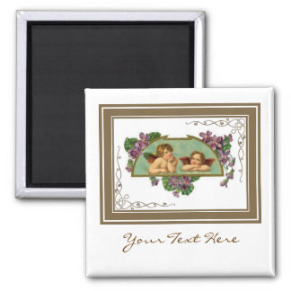 Angels With Purple Flowers Square Magnet