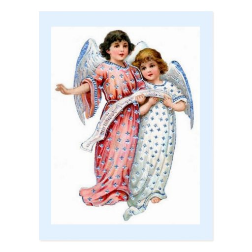 Angels With Vintage Dresses And Music Notes Post Card