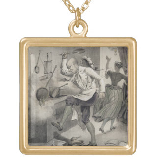 Anger in the Kitchen, from a series of prints depi Gold Plated Necklace