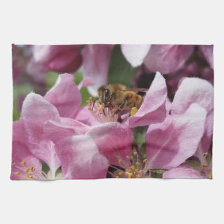 Angery Honey Bee On Pink Crabapple blossom Towel
