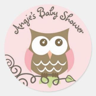 Angies baby shower round sticker