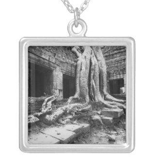 Angkor Cambodia, Ta Prohm Tree Square Pendant Necklace