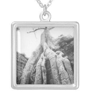 Angkor Cambodia, Tree Ta Prohm Square Pendant Necklace
