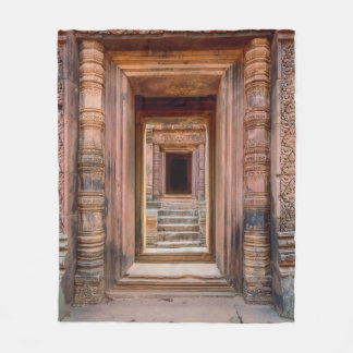 Angkor Wat Entryway, Cambodia Fleece Blanket