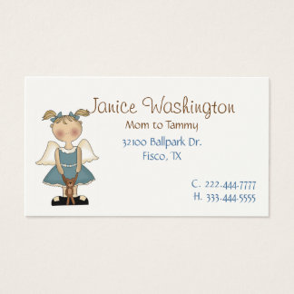 Angle Girl with Teddy Bear Mommy Card