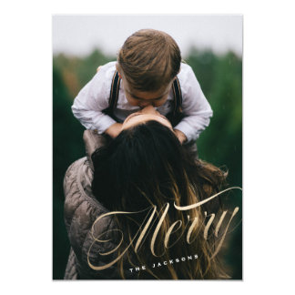 Angled Merry Script Holiday Photo Card