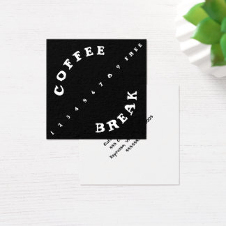 Angled Numbers Punch Simple Loyalty Coffee Square Business Card