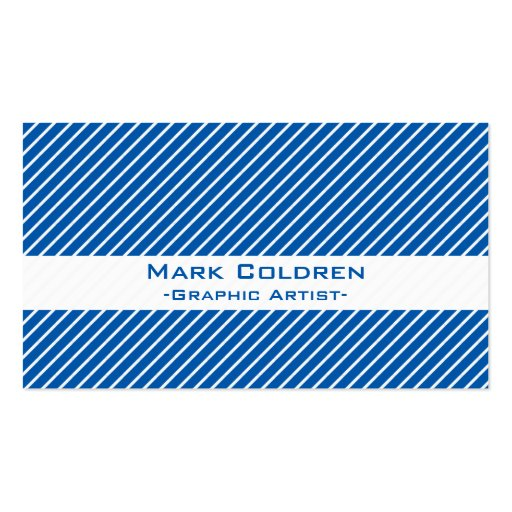 Angled Pinstripes 45 (Blue) Business Cards