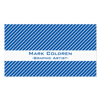 Angled Pinstripes 45 Blue Business Cards