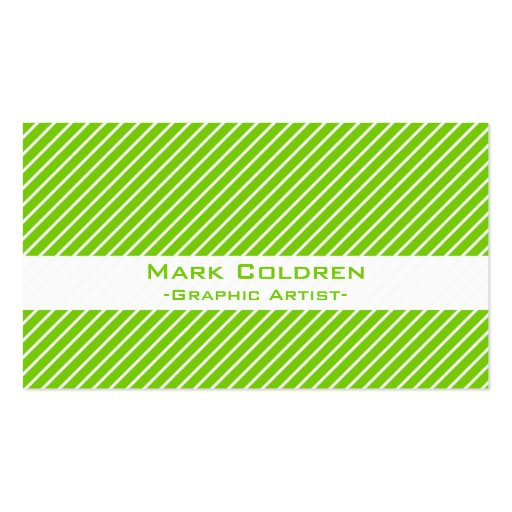 Angled Pinstripes 45 (Green) Business Card