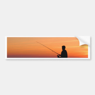 Angler and sunset on shore of the Baltic Sea Bumper Sticker