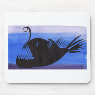 Angler Fish Silhouette Mouse Pad