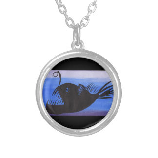 Angler Fish Silhouette Silver Plated Necklace