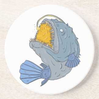 Anglerfish Swooping up Lure Drawing Coaster