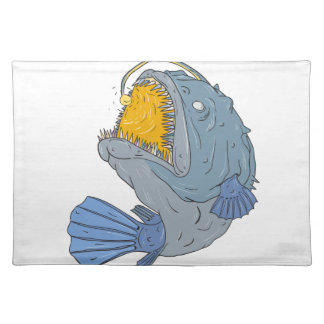 Anglerfish Swooping up Lure Drawing Placemat