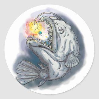 Anglerfish Swooping up Solar System Lure Watercolo Classic Round Sticker