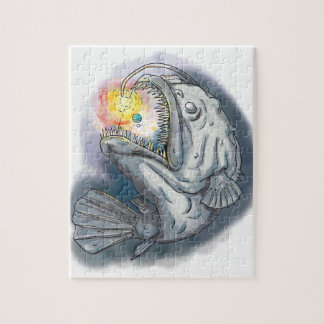 Anglerfish Swooping up Solar System Lure Watercolo Jigsaw Puzzle
