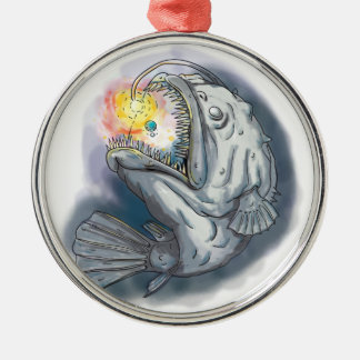 Anglerfish Swooping up Solar System Lure Watercolo Metal Ornament