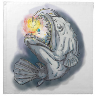Anglerfish Swooping up Solar System Lure Watercolo Napkin