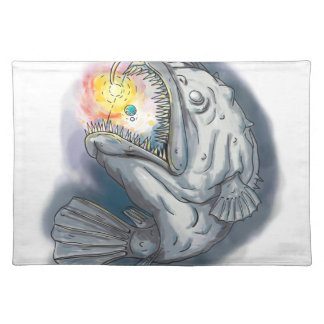 Anglerfish Swooping up Solar System Lure Watercolo Placemat