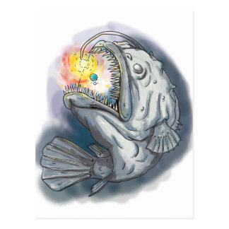 Anglerfish Swooping up Solar System Lure Watercolo Postcard