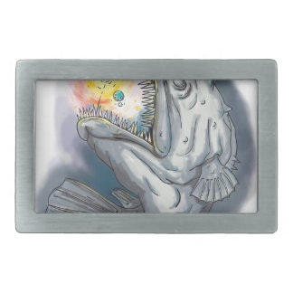 Anglerfish Swooping up Solar System Lure Watercolo Rectangular Belt Buckle