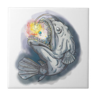 Anglerfish Swooping up Solar System Lure Watercolo Tile