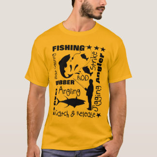 Anglers Fishing Themed Terminology Typography T-Shirt