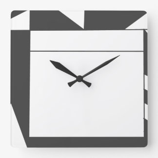 Angles in black and white square wall clock