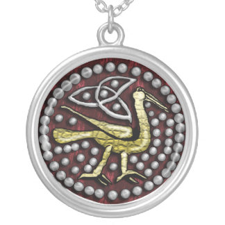 anglo-saxon style bird silver plated necklace