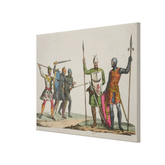 Anglo-Saxon Warriors, plate 14 from 'The History o Stretched Canvas Print