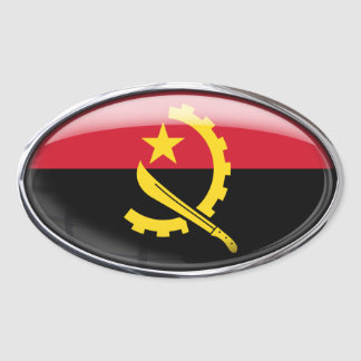 Angola Flag Glass Oval Oval Sticker