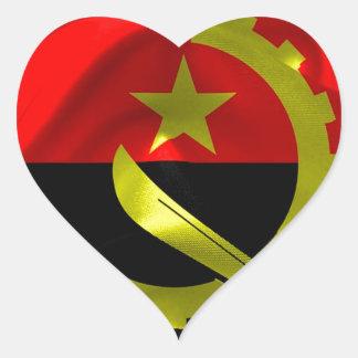 Angola Flag Heart Sticker