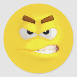 Angry 3D Effect Emoji Classic Round Sticker
