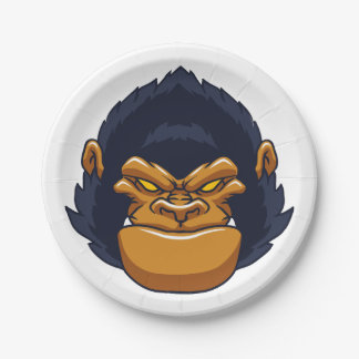 angry ape gorilla face 7 inch paper plate