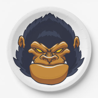 angry ape gorilla face 9 inch paper plate