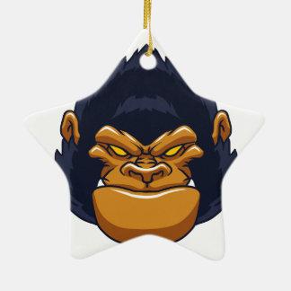 angry ape gorilla face ceramic star decoration