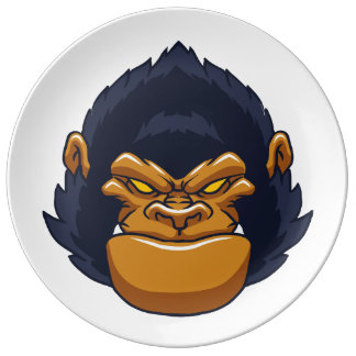 angry ape gorilla face porcelain plates