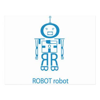 Angry Blue Robot Postcard