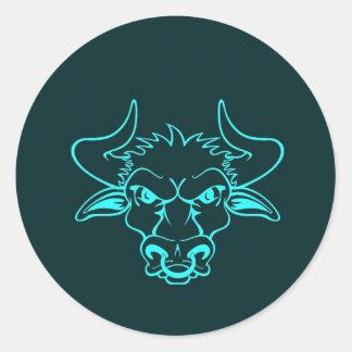 Angry bull classic round sticker