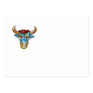 Angry Bull Head Mosaic Pack Of Chubby Business Cards