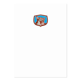 Angry Bull Head Padlock Shield Retro Business Card Template