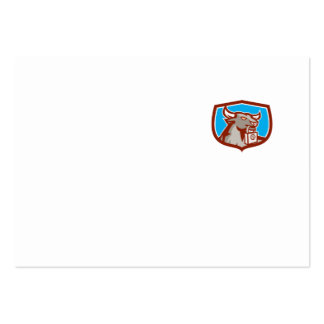 Angry Bull Head Padlock Shield Retro Business Card