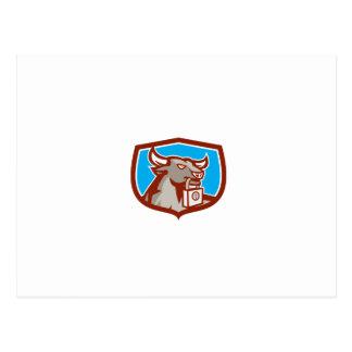 Angry Bull Head Padlock Shield Retro Postcard