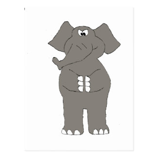 Angry Cartoon Elephant Postcard