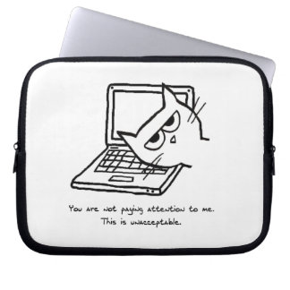 Angry Cat Demands Attention - Funny Laptop Sleeve