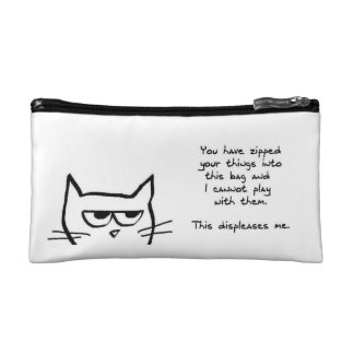Angry Cat Doesn't Like Zipped Bags Makeup Bag
