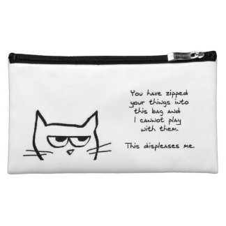 Angry Cat Doesn't Like Zipped Bags Makeup Bags